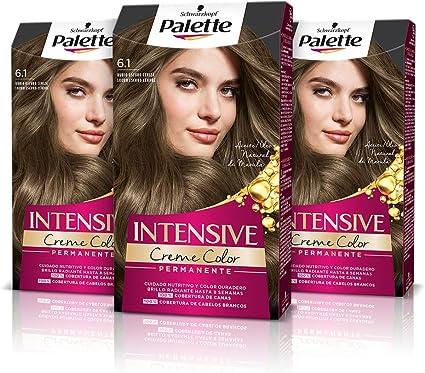 Schwarzkopf Palette Intensive Creme Color – Tono 6.1 cabello Rubio Oscuro Ceniza (Pack de 3) - Coloración Permanente de Cuidado con Aceite de Marula, ...
