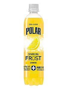 Polar Beverages Frost Sparkling Water, Lemonade, 17 Fluid Ounce (Pack of 12)