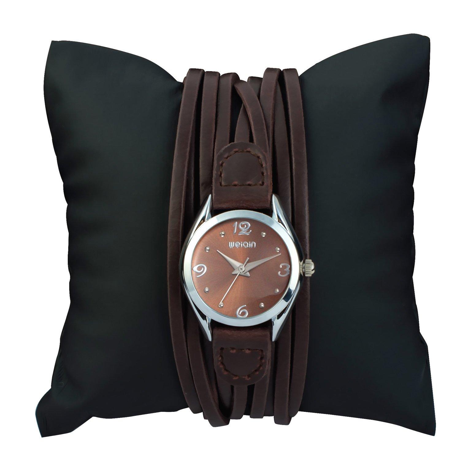 Ladies Water Resistant Leather Wrist Watch for Women - Female Vintage Brown