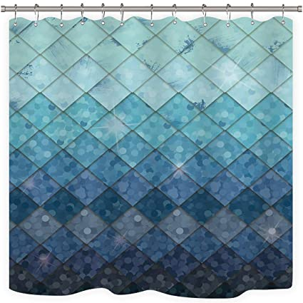 Cdcurtain Mermaid Rhombus Geometric Shower Curtain Free Metal Hook 12 Pack Royal Blue Scales Bubble