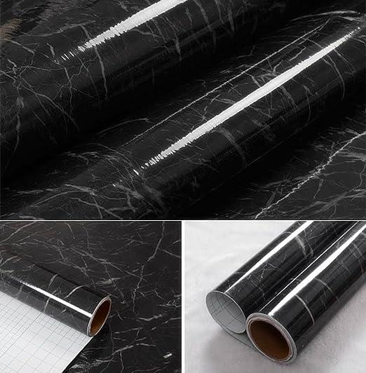 wDragon negro gris mármol autoadhesivo brillante lámina de vinilo Peel Stick encimera de cocina Papel pintado de vinilo 24