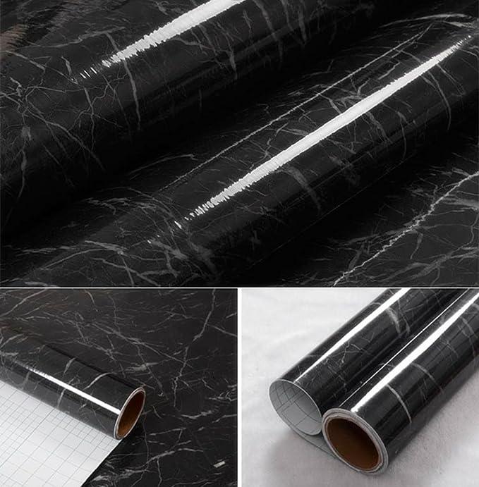 wDragon negro gris mármol autoadhesivo brillante lámina de vinilo ...