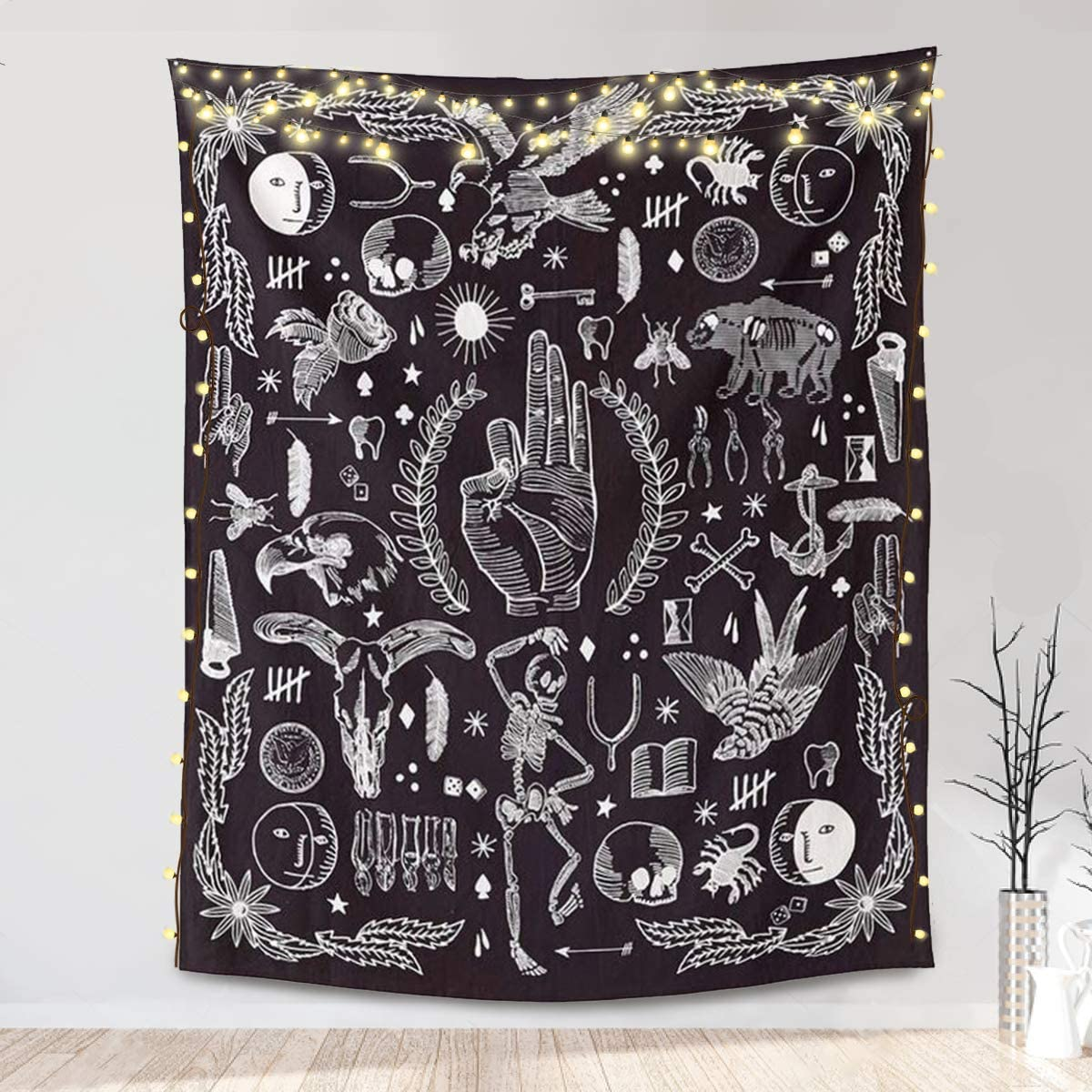 Amazon Com Jeteven Polyester Hanging Tapestry Wall Hanging Blanket Bedspread Beach Towels Picnic Mat Home Decor Bed Cover Black Gothic 165x148cm 65 X58 Black Everything Else