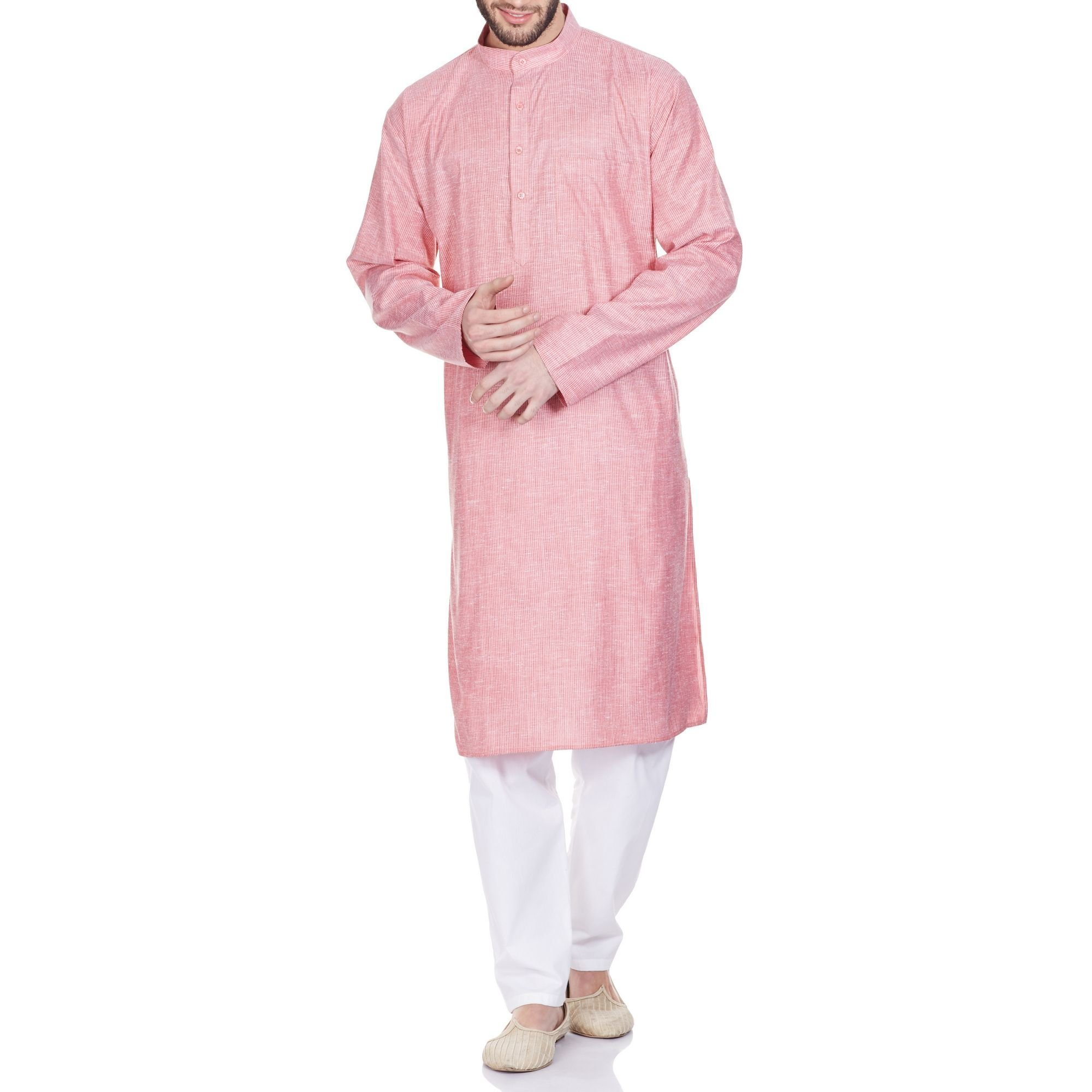 Indian Outfit Men Kurta Pajama Set Comfortable Gifts For Husband 46 Inches