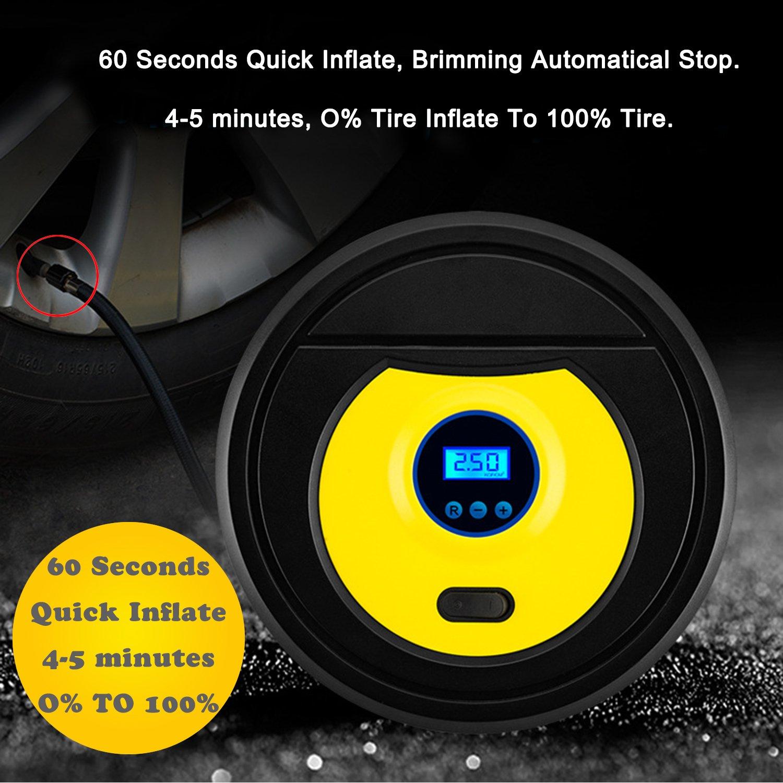lot cadeau 1 tube dextension gonflable 4 capuchons auto-surveillance ZFITEI Pompe /à compresseur dair portable gonfleur de pneu automatique num/érique 12 V jaune