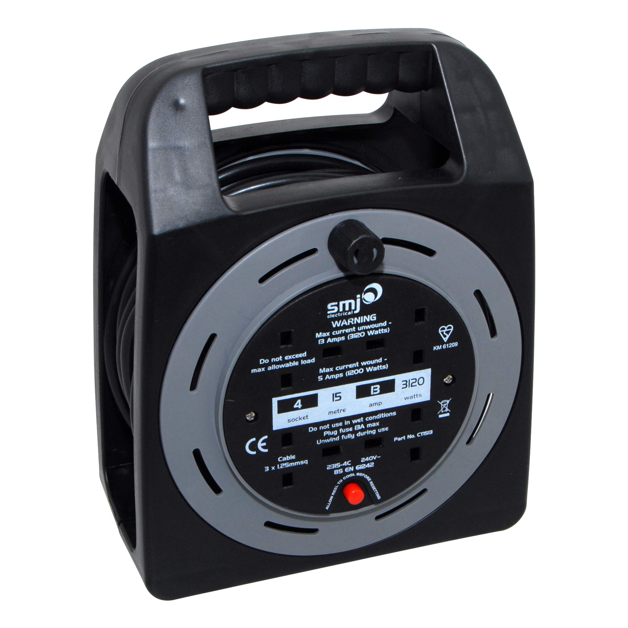 SMJ Electrical CT1513 Easy Wind 13A 4G 15 Metre Cable Reel with Thermal Cut Out, Black/Grey, Meter
