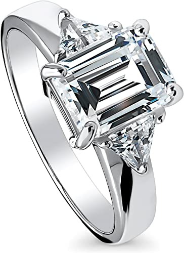 Clear Cubic Zirconia Center Designer Beaded Sides Ring Rhodium Plated Sterling Silver