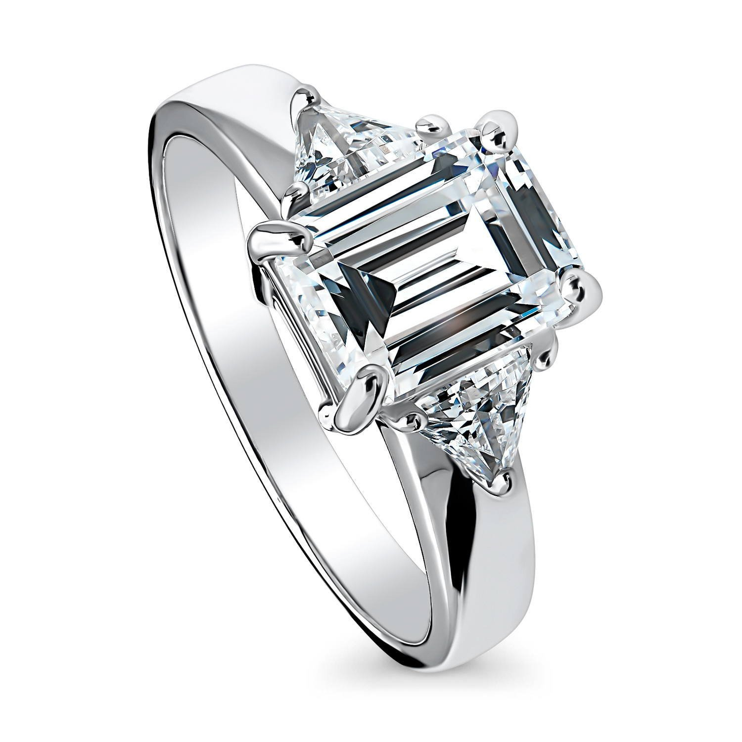 BERRICLE Rhodium Plated Sterling Silver Cubic Zirconia CZ 3-Stone Promise Engagement Ring Size 6