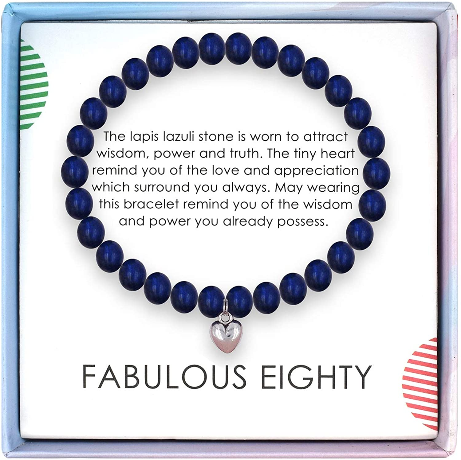 Amazon Com Solinfor 80th Birthday Gifts For Women Lapis Lazuli Beads Bracelet 80 Years Old Jewelry Gift Idea For Her Jewelry