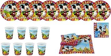 ALMACENESADAN 2440; Pack Fiesta y cumpleaños Disney Mickey Mouse 1,2,3; 8 Platos 19,5 cm, 8 Vasos y 20 servilletas.: Amazon.es: Juguetes y juegos