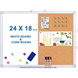 Magnetic White Board and Cork Board Combo, 24 X 18 inches Whiteboard Bulletin Combination Board, Wall Mounted Dry Erase Messa