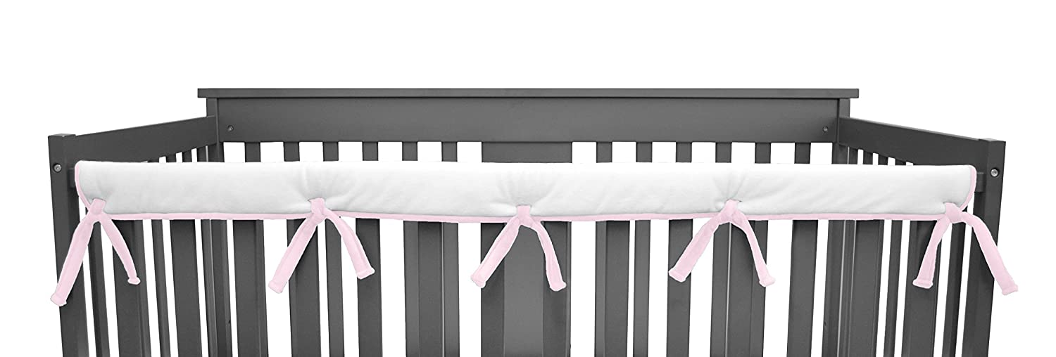 American Baby Company Heavenly Soft Chenille Reversible Crib Cover for Long Rail, Gray/White, Narrow for Crib Rails Measuring up to 8 Around 4352-GR/WT