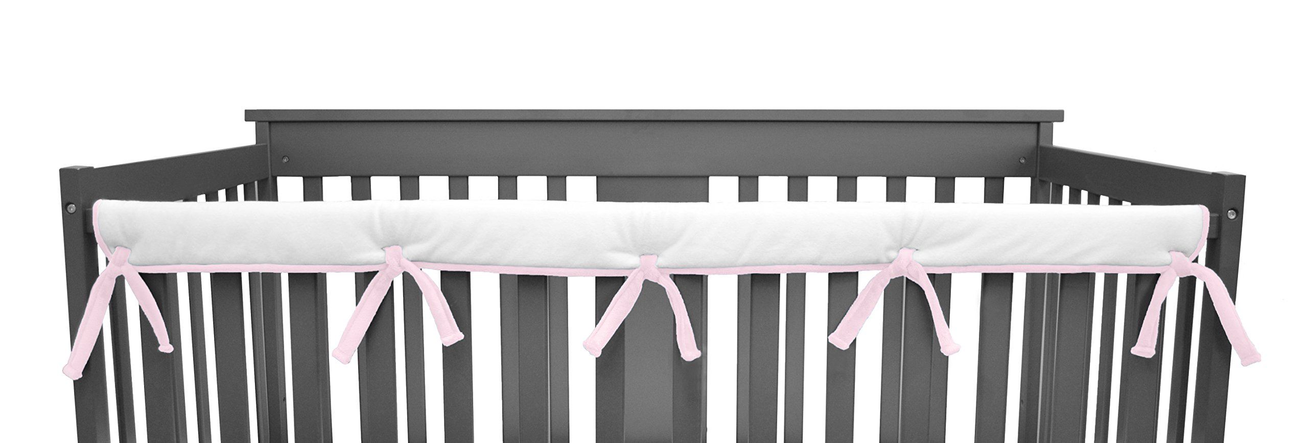 American Baby Company Heavenly Soft Narrow Reversible Crib Cover for Long Rail, Pink/White, for Crib Rails Measuring up to 4'' folded