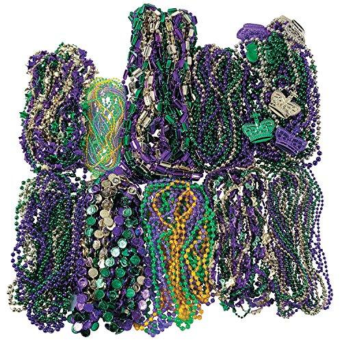 Fun Express - Mega Mardi Gras Bead Assortment (500pc) for Mardi Gras - Jewelry - Mardi Gras Beads - Misc Mardi Gras Beads - Mardi Gras - 500 -