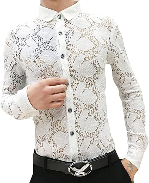 7742fb48f365 ONTBYB Men's Classic Sheer Lace Long Sleeve Button Down Shirt White ...