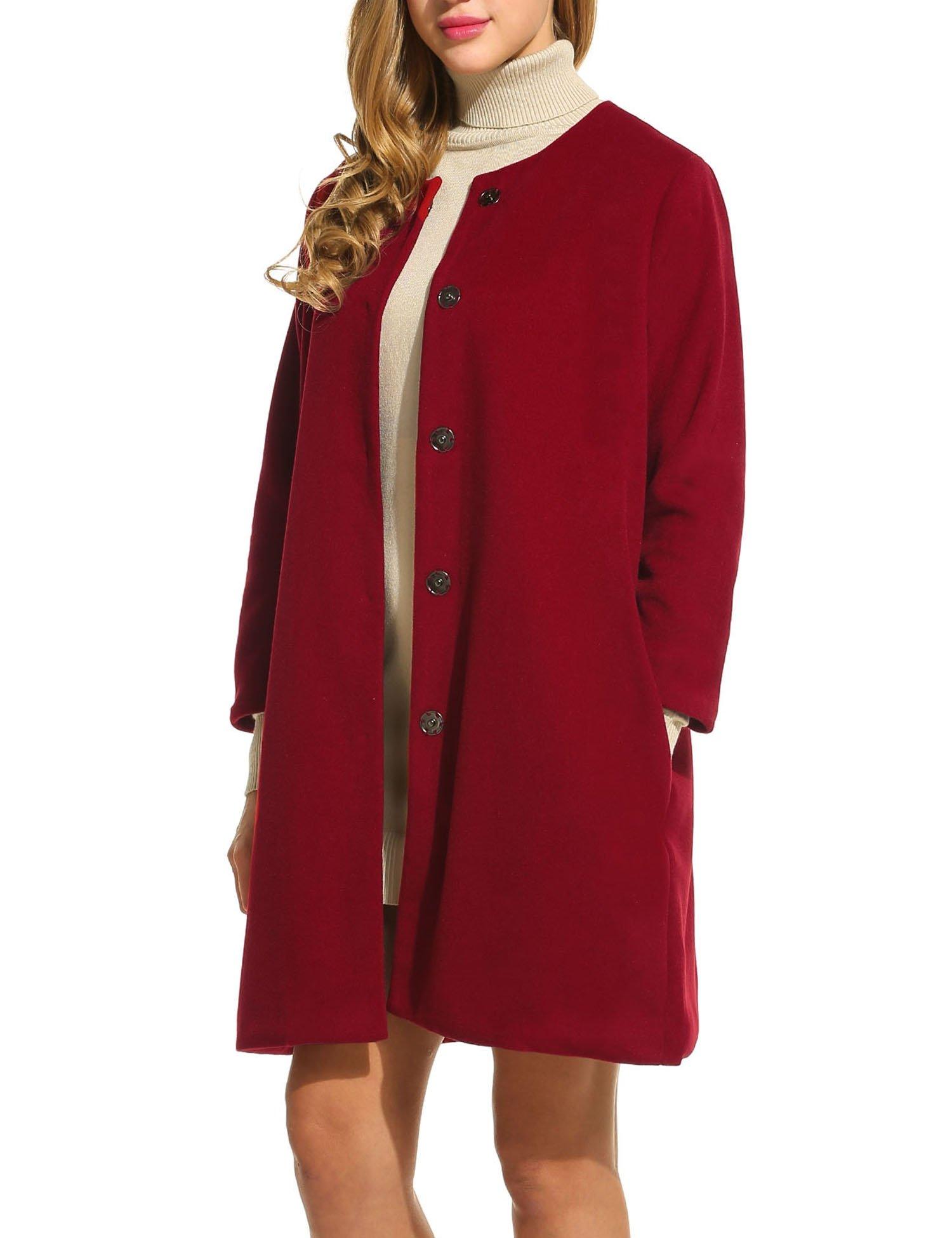 Meaneor Women's New Style Winter Dress-Coats Slim Long Wool Pea Coat Wine Red/M