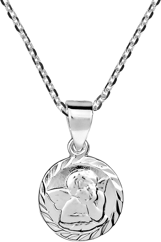 AeraVida Mini Baby Cherub Cupid Angel .925 Sterling Silver Pendant Necklace