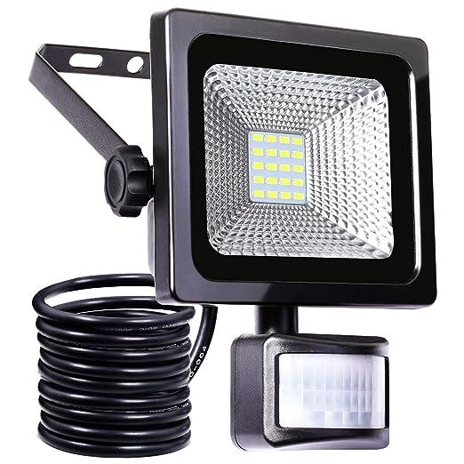Foco LED de 10 W con detector de movimiento (IP66, impermeable, 1000 lm