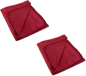 J & M Home Fashions Reversible Plush Fleece Throw Blanket, 50x60, Tibetan Red 2 Piece