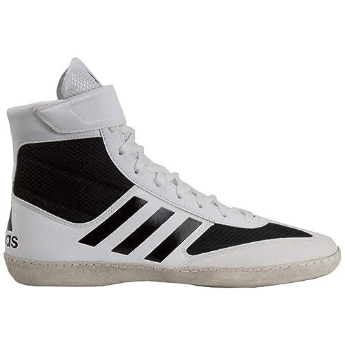 Adidas Agencia de velocidad 5 blanco / negro hombre 's wrestling Boots zapatos