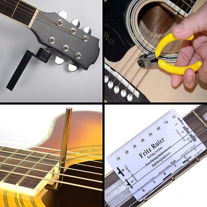 Kit de réparation de guitare - Ensemble de 15 outils d entretien de guitare  - Avec aiguille de guitare,jauge d action des cordes,enrouleur et  coupe-cordes ... eb592b8f7c9