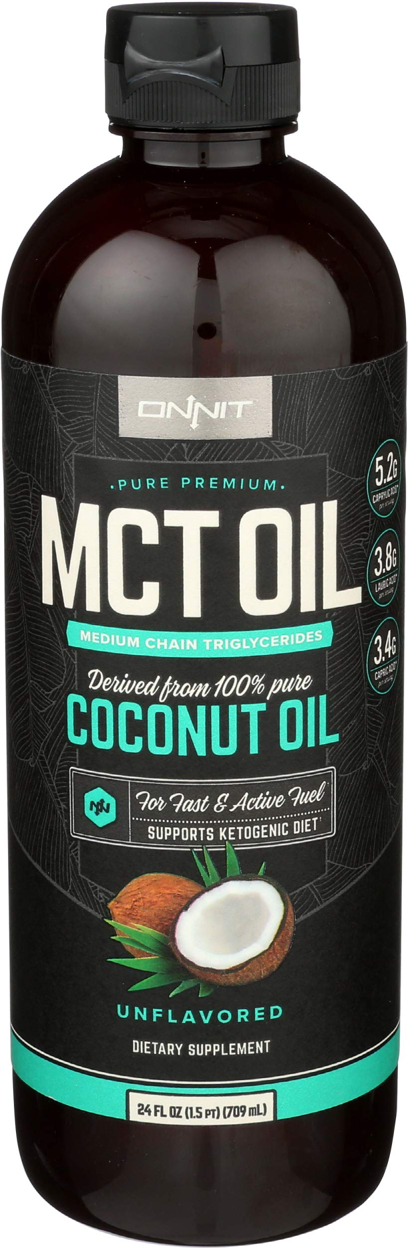 Onnit MCT Oil - Pure MCT Coconut Oil, Ketogenic Diet and Paleo Optimized with C8, C10, Lauric Acid - Perfect for Coffee, Shakes, and Cooking