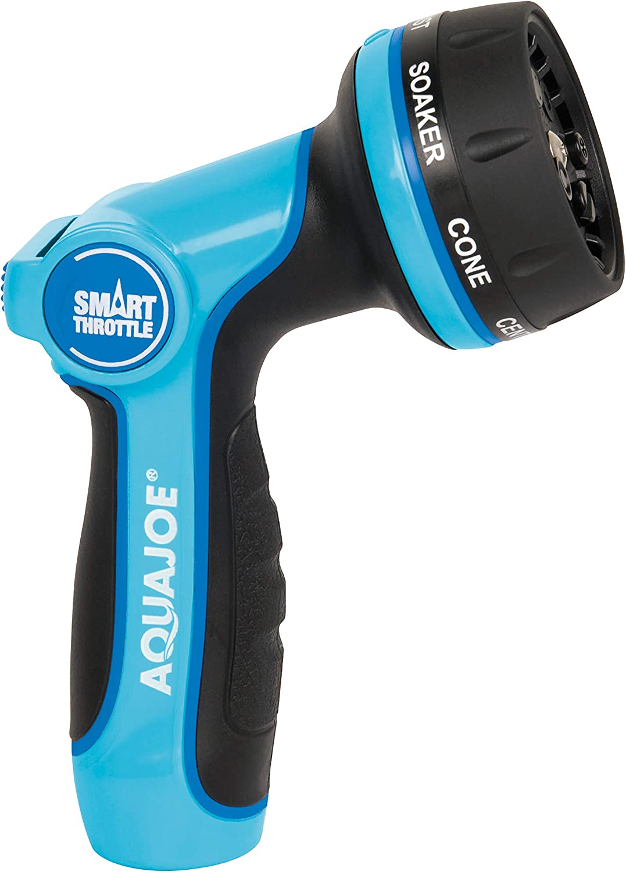 Aqua Joe AJHN102 Heavy Duty Indestructible Metal Multi Function Adjustable Hose Nozzle, w/Smart Throttle