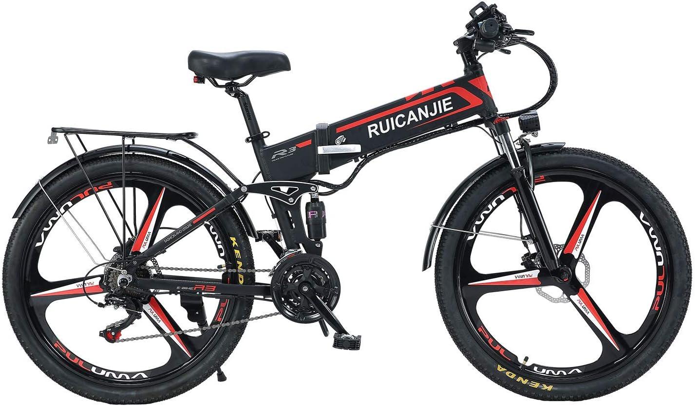 SONGZO Bicicleta de Montaña 350W 21 Velocidades Bicicleta Eléctrica Plegable de 26 Pulgadas con Doble Suspensión y Freno de Disco