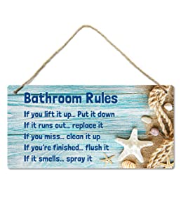 Beach Bathroom Decor, 12″x6″ PVC Plastic Wall Decoration Hanging Sign, Water and Humidity Proof, Bathroom Rules, Seashell Bathroom Decor, Beach Bathroom Decor and Accessories, Starfish …