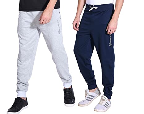 d1dc8efb VERSATYL Men's Cotton Slim Fit Track Pants Joggers Combo Pack of 2  (Blue-Grey