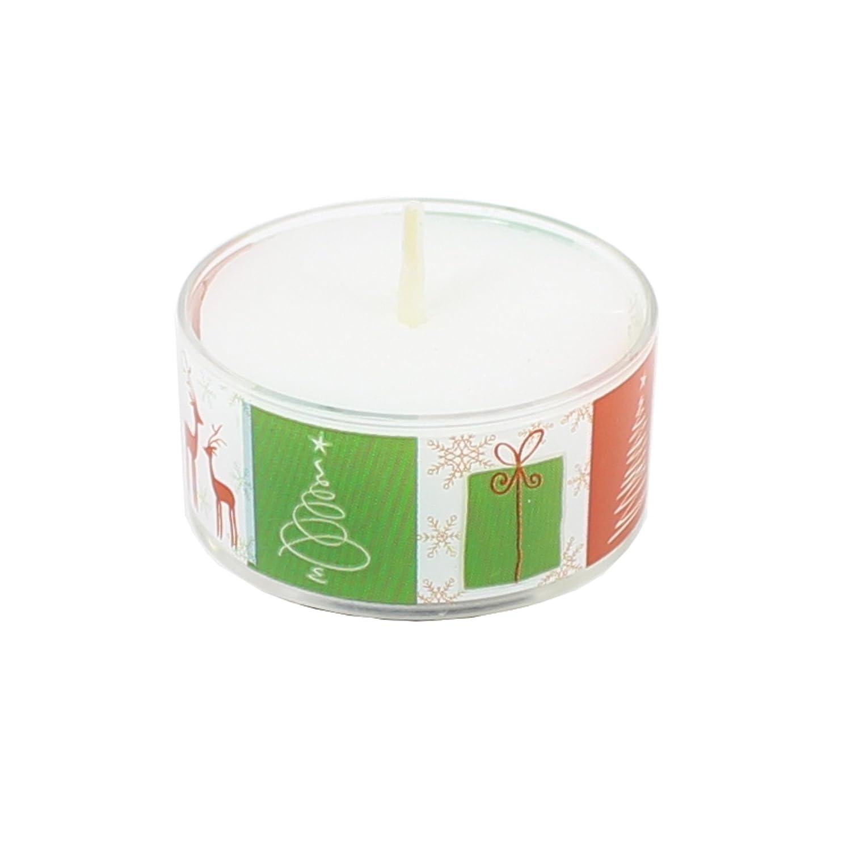 Smart Planet® Velas Ambiente - 9 Eco Velas en Transparente Funda de Navidad diseño árbol Rojo/Verde rellenable + 9 x Cera en Blanco Botella: Amazon.es: ...