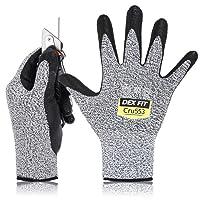 DEX FIT Level 5 Cut Resistant Gloves Cru553, 3D Comfort Stretch Fit, Power Grip Foam Nitrile, Smart Touch, Durable Thin & Lightweight, Machine Washable, Grey Medium 1 Pair