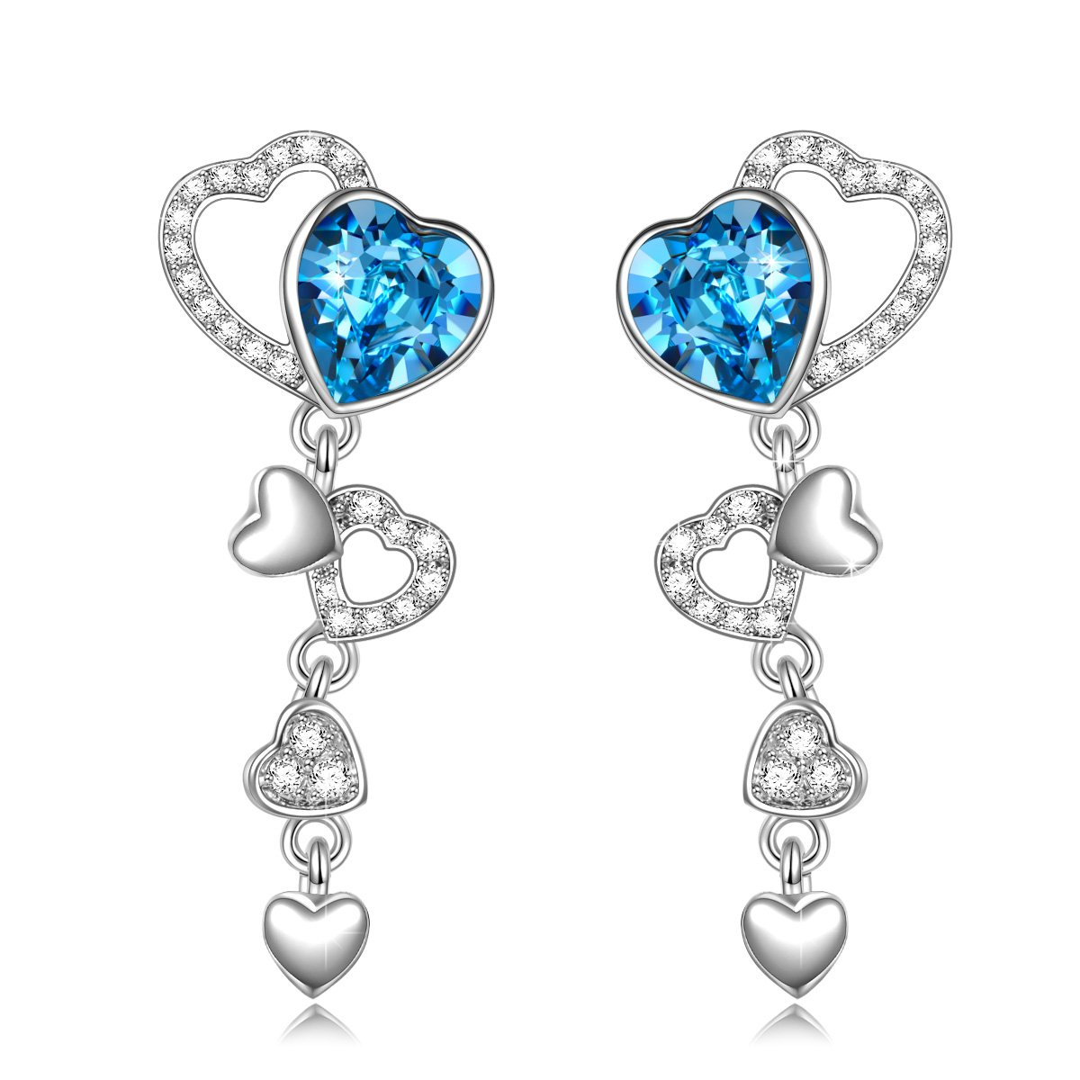 QIANSE''Love Actually'' Dangle Heart Swarovski Crystals Earrings Silver Tone Jewelry for Women Christmas Birthday Gifts for Women Girlfriend Wife Daughter Anniversary Gifts for Her