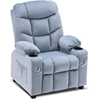 Mcombo Big Kids Recliner Chair with Cup Holders for Boys and Girls Room, 2 Side Pockets, 3+ Age Group, Velvet Fabric 7355 (Baby Blue)