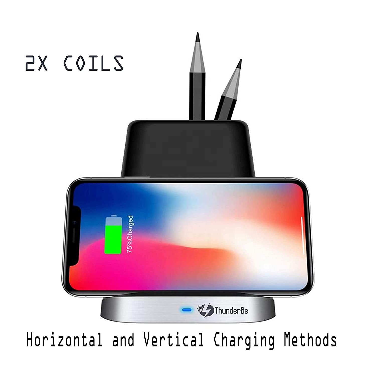 THUNDERBS Wireless Charger Stand For Samsung and iPhone with Desk Organizer Wireless Charging Station for all QI Devices Storage Caddy Pen Pad Holder