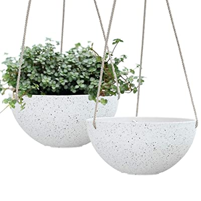 Hanging Planters for Indoor Plants - Flower Pots Outdoor 10 inch Garden Planters and Pots,Speckled White Set of 2: Garden & Outdoor