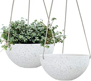 LA JOLIE MUSE Hanging Planters for Indoor Plants - Flower Pots Outdoor 10 inch Garden Planters and Pots,Speckled White Set of 2