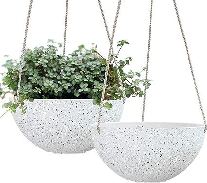 Macetas Colgantes Para Plantas De Interior Macetas De Jardín Al Aire Libre De 10 0 In Y Macetas Color Blanco Moteado Juego De 2 Jardín Y Exteriores