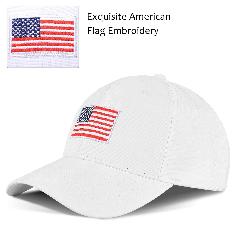 Tirrinia Unisex American Flag Embroidered Baseball Cap Adjustable Sports Golf Cap White