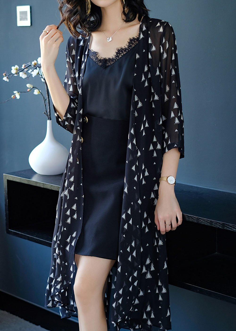 HUAN Cárdigan de Chifón Largo de la Mujer Tops de Blusa de Kimono Cubren la Blusa, Trenca de la Moda de Las Señoras Verano (Color : 1, Tamaño : SG): ...
