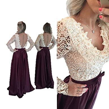 Dislax V Neck Long Sleeve Lace Top Prom Dresses Evening Party Gowns Burgundy US 2