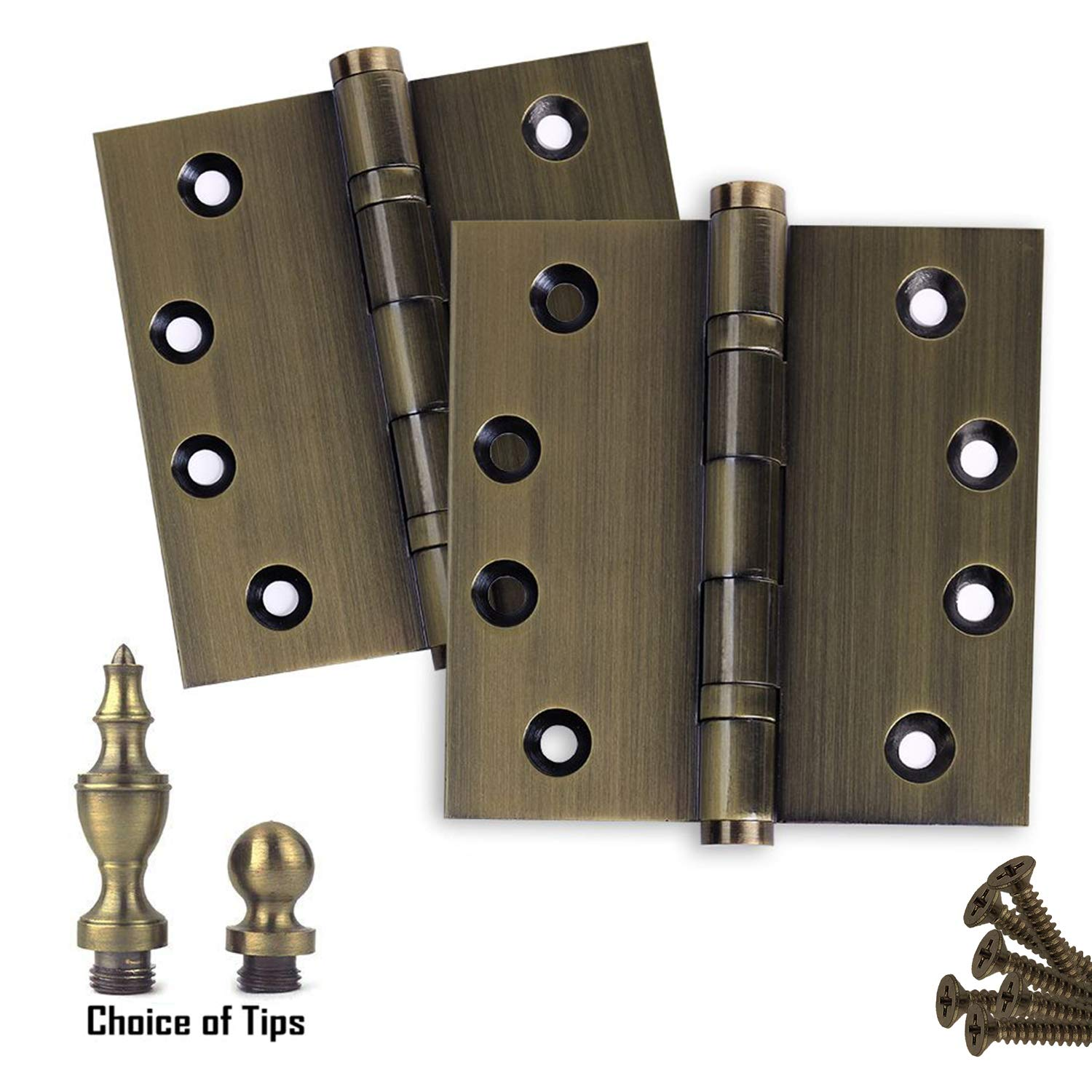 4 x 4 Solid Brass Ball Bearing Hinges Ball Urn Flat Tips Included Heavy Duty Architectural Grade Antique Brass Finish US5 Stainless Steel Pin 3