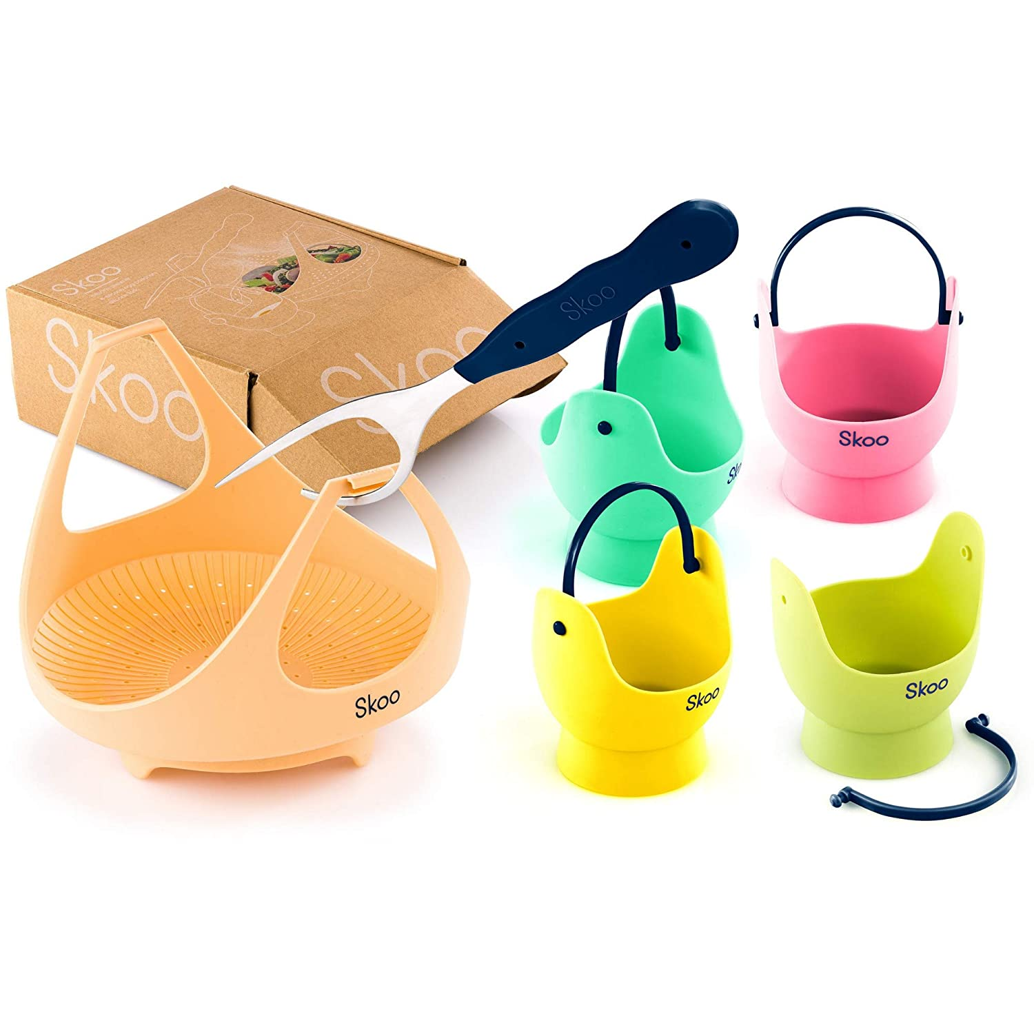SKOO Vegetable Steamer Basket + Egg Poacher Cups + Fork + Free Ebook - Silicone Egg Cooker and Food Steamer Set - For Stove Top, Instant Pot and Microwave (Various Colors)