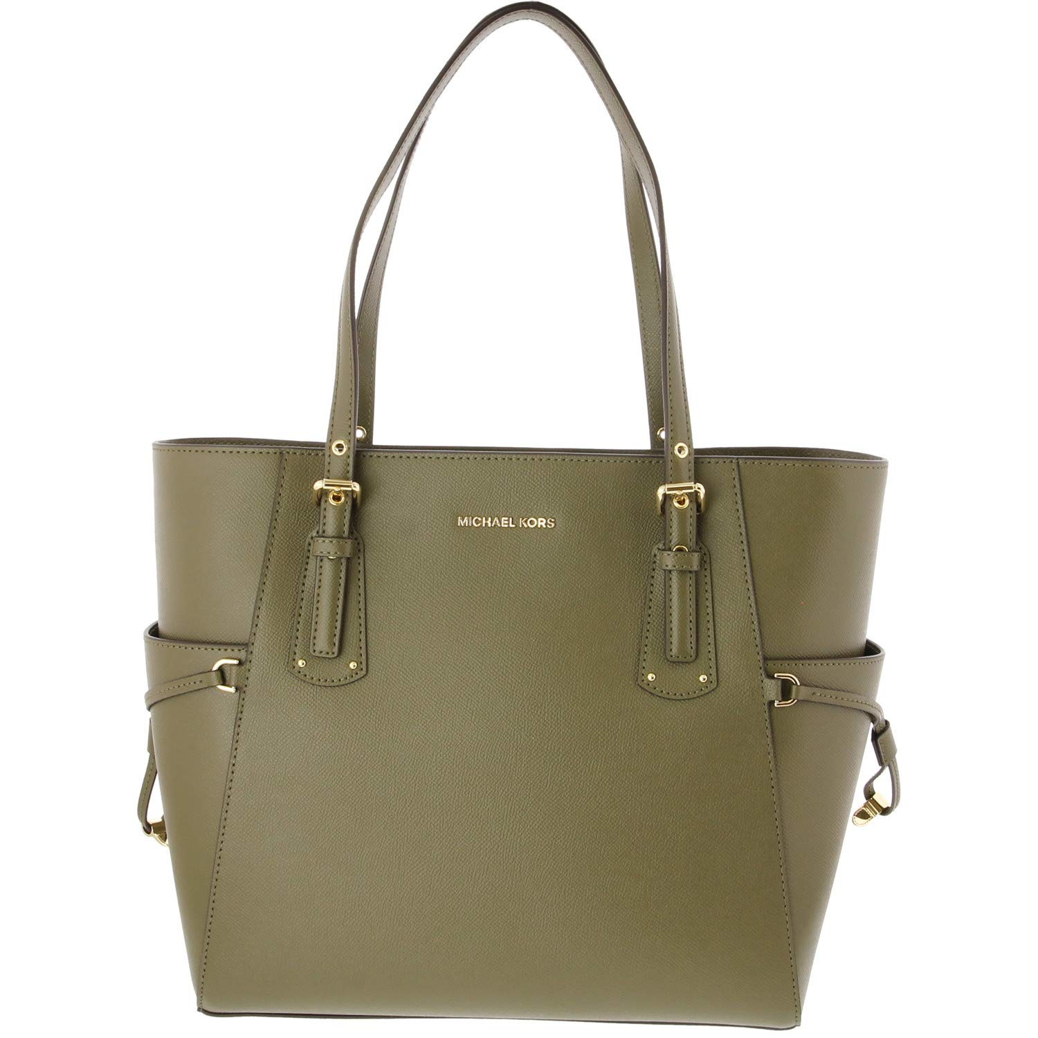 Michael Kors Voyager Textured Crossgrain Leather Tote- Olive by Michael Kors