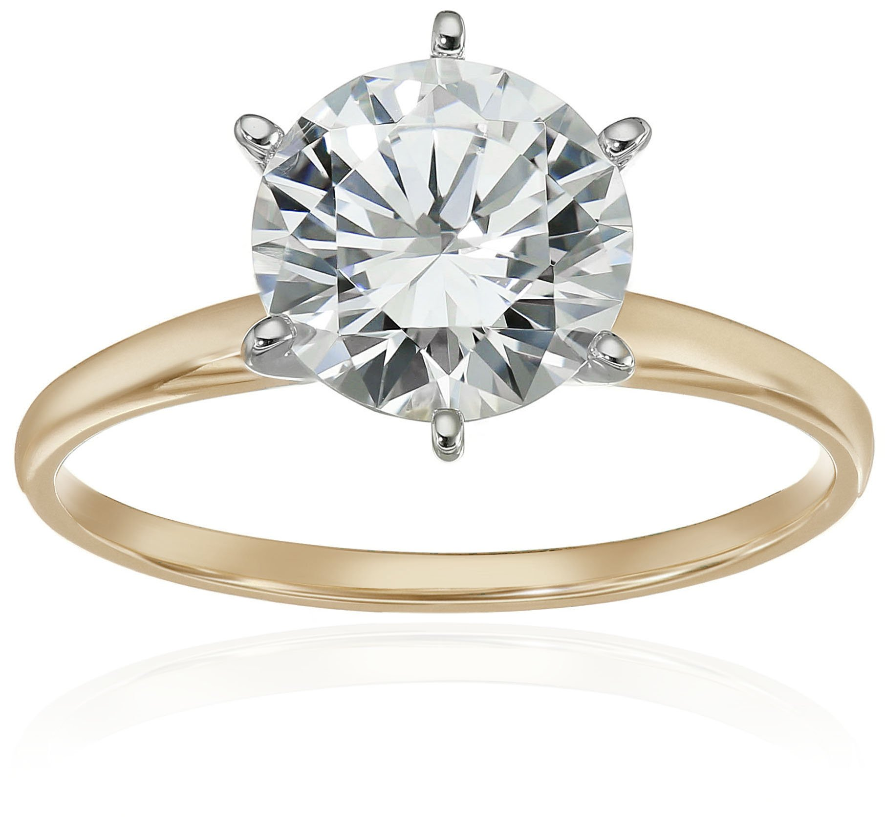10k Yellow Gold Round-Cut Solitaire with Swarovski Zirconia Ring, Size 6