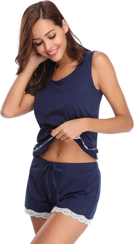 Hawiton Womens Short Pajamas Set,Soft Loungewear Short Sleeved Cotton PJ Set Nightwear Sleepwear for Summer