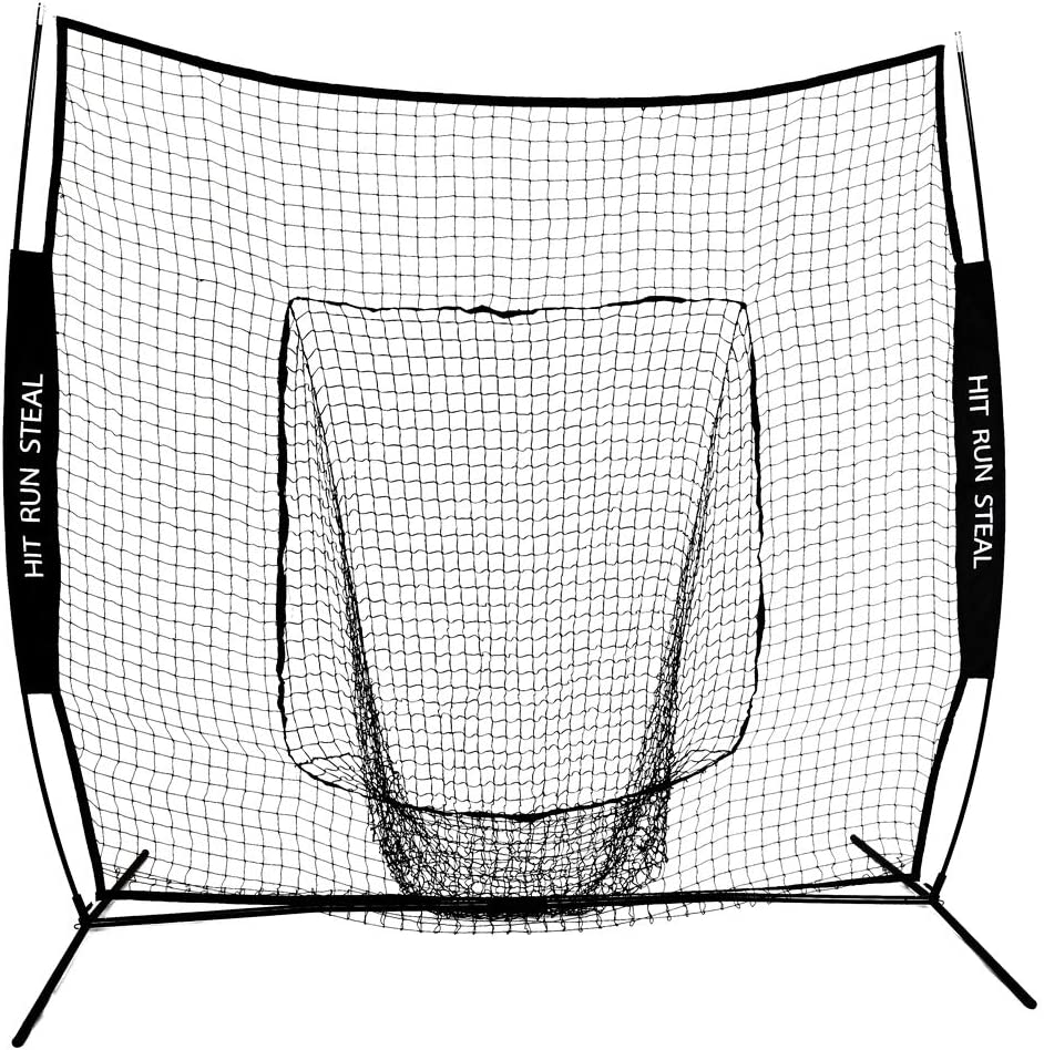 Hit Run Steal Baseball and Softball Hitting Net 7 x 7 Practice Large Mouth Hitting Net with Bow Frame