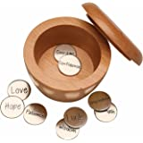 SIGNALS Inspirational Take What You Need Wooden Box with 9 Uplifting Inscribed Coins