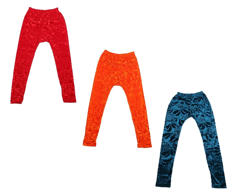 Indistar Kids Embossed Multicolor Leggings Combo Pack of 3