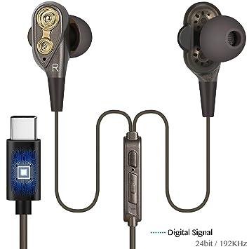 Écouteurs de Type C Dual Dynamic Drives Casques